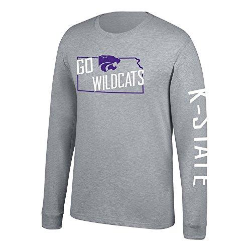 J America NCAA Men's Kansas State Wildcats Classic Heather Long Sleeve Tee, Large, Oxford Fall Kansas State Wildcats