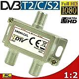 TronicXL, Splitter per antenna di alta qualità, presa femmina F per DVBT DVBC SAT, splitter cavo unico, TV via cavo, Unitymedia Vodafone,  Sky, NetAachen, Primacom Digital, HD, 3D, 4K
