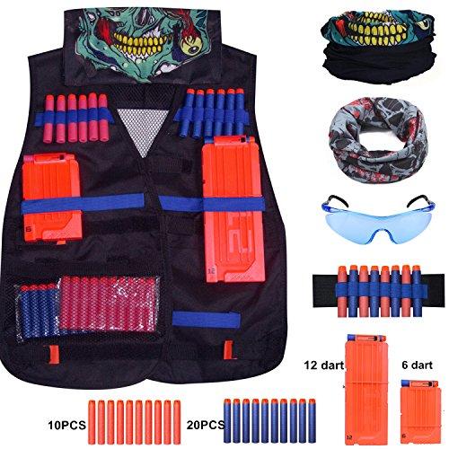 Kinder Taktische Weste Jacke Set für Nerf N-Strike Elite Zubehör Nerf Taktische Weste 2 Schädel-Gesichtsmaske + Schutzbrille + 30er Dart Nachfüllpack +1er Clip für 12-Dar +1er Clip für 6-Dar