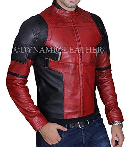 Herren Fashion Deadpool Wade Wilson Ryan Reynolds Echtes Burgandy gewachstes Leder Jacke - Rot - S (Deadpool Kostüm Ryan Reynolds)