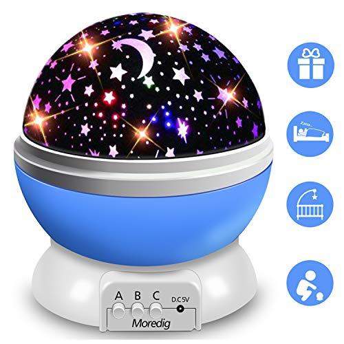 Moredig Nachtlicht Sternenhimmel Projektor Lampe, Baby Schlummerleucht 360° Rotation LED Nachtlampe mit 8 Farbige Lichter Sterneprojektion, Perfekte Night Light für Kinderzimmer Schlafzimmer- Blau
