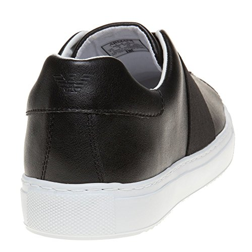 Armani Jeans Cross Strap Slip On Homme Baskets Mode Noir Noir