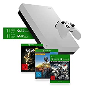 Xbox One X 1TB, weiß – Fallout 76 Bundle + Playerunkown's Battlegrounds (PUBG), Game Preview Edition + Gears of War 4 Download Code