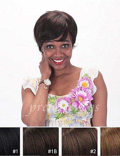 Perruque & xzl Perruques Fashion sans colle 2 # aucune machine de dentelle faite perruques de cheveux humains de cheveux brésilienne non traitée pour les femmes