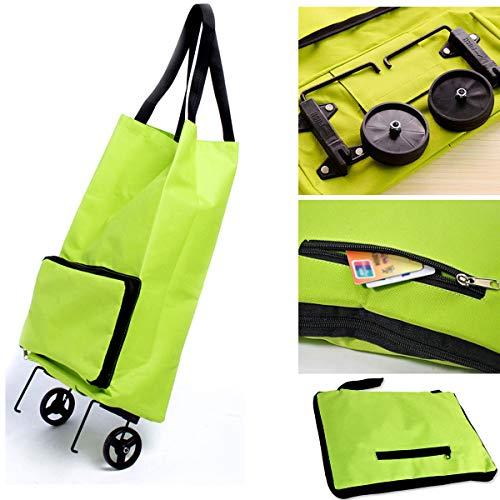 Carrito de la compra plegable para mujer, con ruedas dobles, para equipaje, hombro, carro de mano, portátil, incluye bolsa de viaje plegable