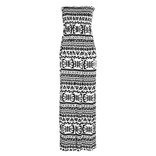 Crazy Girls Womens Bandeau Boobtude Gathered Sheering Strapless Long Maxi Dress (S/M-UK8/10, Aztec Print)