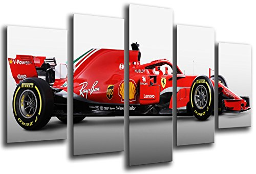 Quadro su Legno, Auto Formula 1, Ferrari F1 SF71-H, Ferrari F1 2018, Sebastian Vettel, Kimi Raikkonen, 165 x 62cm, Stampa in qualita Fotografica. Ref. 27113