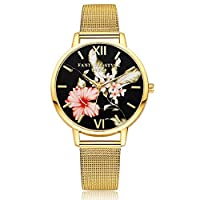 Lvpai Flower Print Round Dial Alloy Band Quartz Wrist Watch for Women -Golden