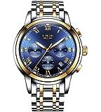 LIGE Montres Hommes Sport étanche 30M Montre Analogique Quartz Mode Lumineux Date en Acier Inoxydable Bleu Affaires Montre Bracelet