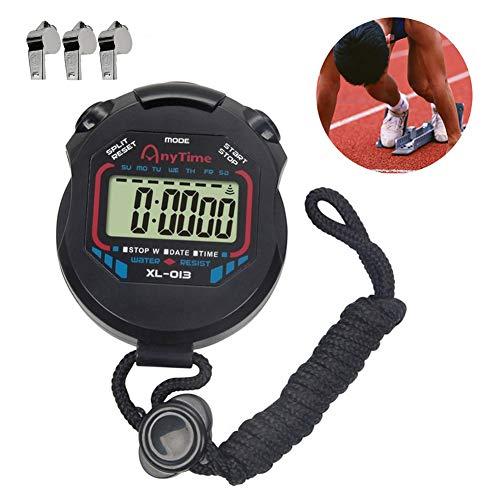 Ebestus digitale cronometro sport professionale con fischio, arresto orologio con stringa, sportivo palmare lcd cronografo timer per palestra, arbitri, coaches (batteria inclusa)