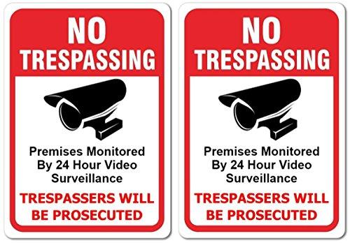 SecurePro Products Zwei No Trespassing/Trespassers Werden Verfolgt Premium-Qualität strapazierfähiger PVC-Yard-Zeichen (.55Dick-20,3cm Breit x 30,5cm Hoch) - Der Außerhalb Home-security-kameras