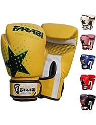 Gants de boxe Farabi uniques, MMA, Muay Thai et gants Punching Bag formation 6OZ, Star jaune