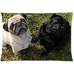Fawn Pug perro carlino con cremallera fundas de almohada cubierta 20x 30pulgadas