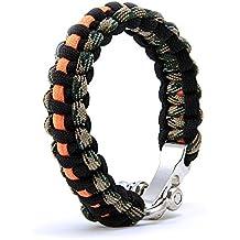 Paracord Armband millitär/orange, Survival-Armband mit Edelstahlverschluss, Überlebensarmband