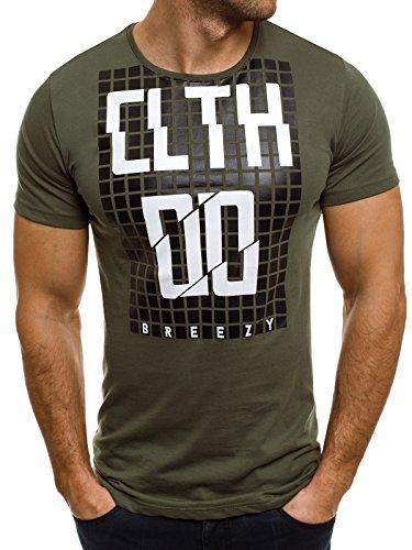 OZONEE Herren T-Shirt mit Motiv Kurzarm Rundhals Figurbetont BREEZY 259 Grün_BREEZY-373