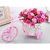 TIED RIBBONS Cycle Shape Flower Vase with Artificial Flower Bunch for Office Desk Home Living Room Bedroom Home Décor & Gift