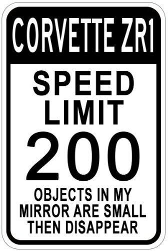 Chevy Corvette ZR1Speed Limit Schild, Aluminium, weiß, 12 x 18 Inches -