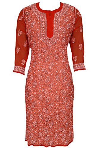 ADA Handcrafted Lucknowi Chikankari Regular Fit Faux Georgette Kurti Kurta A202761