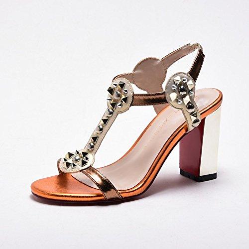 XY&GKSommer Metall Niet Lady elegante High-Heeled's Sandale Frauen Sommer modische Ferse Ferse für Frauen Sommer Sandale hoch 8,5Cm, komfortabel und schön 33 bronze