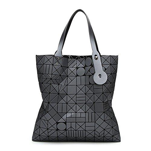 Lady Lampo Sacchetto Geometrico Testa Rotonda Forma Romboidale Cucitura Piegatura Sacchetto Di Spalla Corda Spalla Mano Big Bag Gray