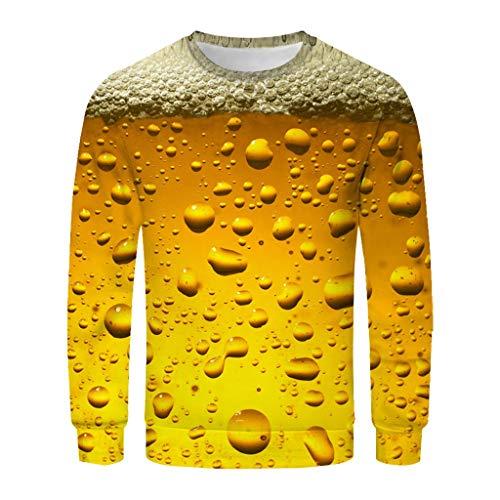 Crewneck Knit Top (BIBOKAOKE Herbst Herren Sweatshirt Rundhals Herren Pullover Casual 3D Drucken Bierfest Langarmshirts Warm halten Oberteile Lange Ärmel Tops Sweater Mode T-Shirt)