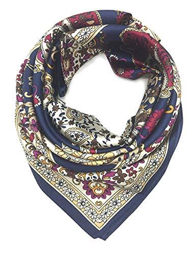 iAmotus SMILE Seidenschal Damenmode Muster große quadratische Satin Kopftuch für Damen im Sommer Herbst (Dark Blue Rim) Blue Rim