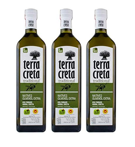 3x 1 L Terra Creta kretisches Olivenöl extra nativ kaltgepresst im Set - Kolympari Koroneiki Oliven Öl 3 Liter + 10ml Probiersachet Olivenöl aus dem Süden Kretas