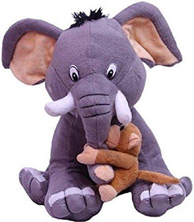 NB Phoenix Elephant and Naughty Monkey Soft Toy 30cm, Cute Plush Kids Animal Toy