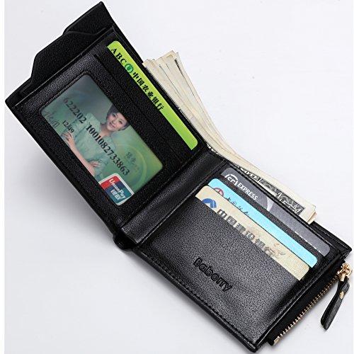 Baborry-Herren Gents Luxus Brieftasche Mit KRotitkarte ID Tasche & Reißverschluss Münztasche Grau Blau