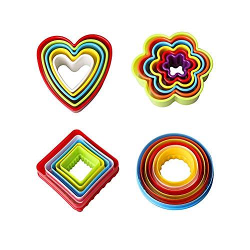 Xstar-Ausstecher-Set, Bpa-Free-Bunt-Multi-Size-Kunststoff-Ausstecher-Sandwich-Fondant-Kuchen, Keksausstecher (Blume, Runde, Viereckig, Herzformen) Satz von 22