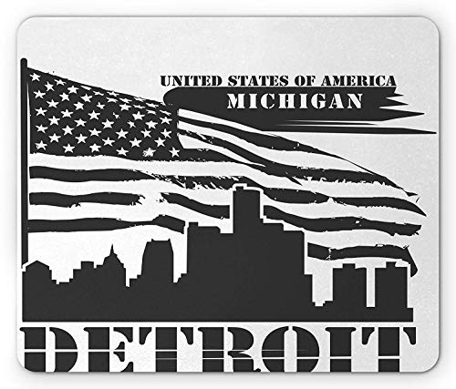 SHAQ Detroit Mouse Pad Mauspad, Monochrome Grunge City Silhouette American Flag United States Michigan, Standard Size Rectangle Non-Slip Rubber Mousepad, Charcoal Grey White