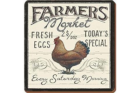 Creative Tops coq Farmers Market Dessous-de-verre avec dos en liège Motif traditionnel boissons sets de table-Set de 6 by Creative
