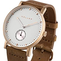 Meller Unisex Maori Roos Camel Minimalist Watch with White Analogue Display and Leather Strap