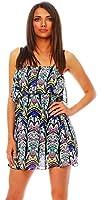 3873 Fashion4Young Damen Minikleid mit Bandeau-Abschluss Kleid dress 4 Farben Chiffon Print
