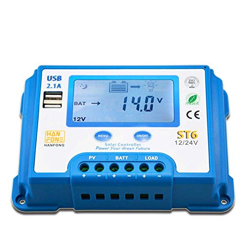 CHANG 10A/20A Solar Laderegler, 12 V/24 V LCD Display Auto Regler, Dual USB Schnittstelle, Schnellladung,Blue,20A
