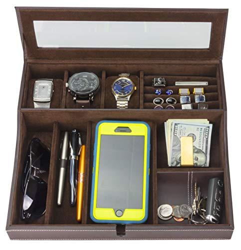 HOUNDSBAY Navigator Big Dresser Valet Tray für Männer mit Uhren Box Schmuck Organizer & Smartphone-Ladestation Dunkelbraun Männer-navigator