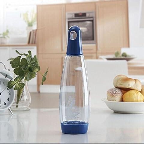 MaMaison007 Botella de agua de 600ml vidrio creativo tetera taza campaña de bolos para Camping Senderismo - azul