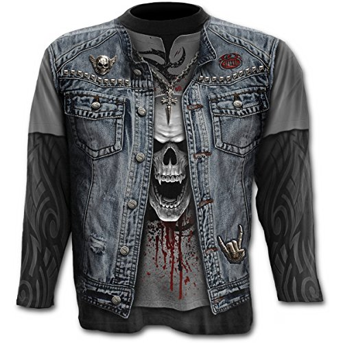 Spiral Herren Langarmshirt Totenkopf - Thrash Metal Longsleeve Sweatshirt All-Over Print (Metal Kostüm Heavy)