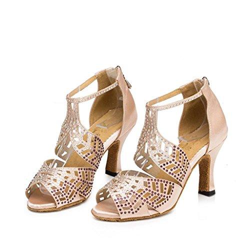 Wgwioo Scarpe Da Ballo Donna Salsa Tango Latin High Heel Ballroom Morbido Cuoio In Pelle Diamante Diamante Strap Caviglia Sandali Classici Albicocca Colore B