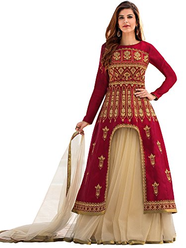 860e2325ff Siddeshwary Fab Women  s Red And Beige Embroidered Lehenga Choli ( A-line  top Lehenga Red )
