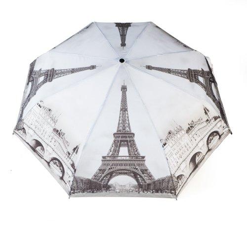 Parapluie Pliant Automatique à Motif Ville Paris en Noir & Blanc