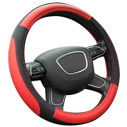 Semoss Universal Lenkradhülle Lenkradschutz Lenkrad Abdeckung aus Mikrofaser Leder Lenkradbezug 37-38 cm Schwarz Rot Lenkradschoner Auto