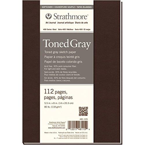 Strathmore Toned Gray Serie 400 Skizzenbuch, graugetönt, 118g/m², 14x20.3cm, Softcover, 112 Seiten