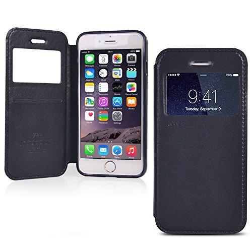 UKDANDANWEI Apple iPhone 6s [Rr] Hülle Case - Magnetisch Leder Tasche Flip Case Cover Schutzhülle Etui Hülle Schale mit Fenster Ansicht Für Apple iPhone 6s - Lila Saphir