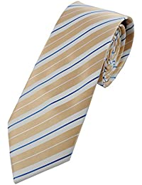 Collar and Cuffs London - High Quality Handmade Tie - Luxury Fashion Gold, White and Blue Stripe Pattern