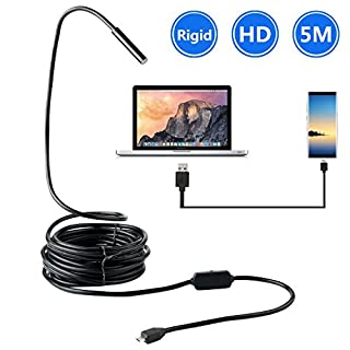 BlueFire Android USB Endoscope, Upgrade Rigid Borescope Inspection Camera 2.0 Megapixels CMOS HD Waterproof Snake Camera with 6 Adjustable Led Lights for Samsung S6/S7 Note5 SONY LG(16.4FT)
