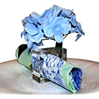 Napkin Ring Serviette Holders with Flower Vase - Stunning Table Decor - Set of 4 - By Playlearn (Set of 4 Napkin Rings & Vase)