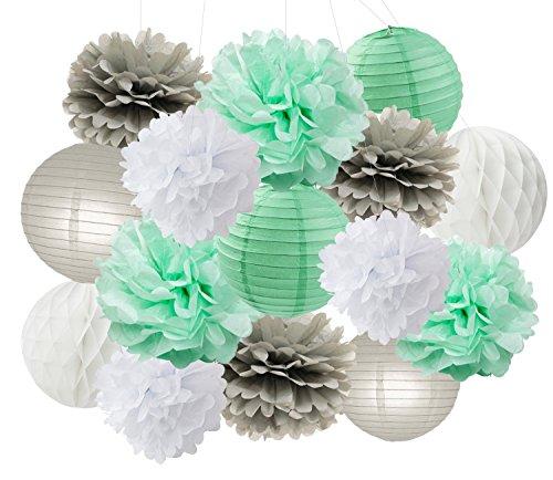 Baby Dusche Dekorationen Furuix 15 stücke Mint Grau Weiß Party Dekoration Kit Seidenpapier Pom Pom Waben Ball für Brautdusche Geburtstag Party Decoratios (Mint Grau Weiß) - Kit Mint