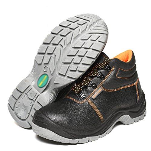 NiSeng Uomo Stivali Impermeabili Scarpe da Cantiere Scarpe da Lavoro Puntale in Acciaio Comode Traspiranti Scarpe da Antinfortunistiche Nero
