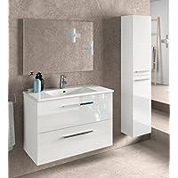 Miroytengo Juego de Mueble de baño Lavabo suspendido 2 cajones, Espejo, lavamanos de cerámica y Columna Auxiliar de Aseo, Acabado en Blanco Brillo